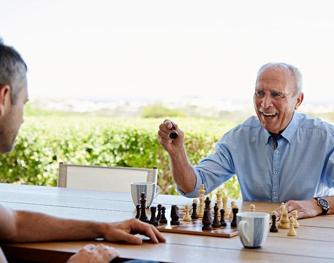 Men playing chess